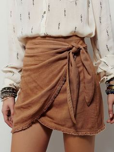 Skirt: suede boho bow bow wrapped ruched printed shirt back to school summer outfits fall outfits FP