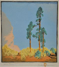 "✨ Gustave Baumann (German-American, 1881-1971) - Three Pines, Color Woodcut, titled lower left, signed lower right, edition 11/100, 9.5"" x 11"""