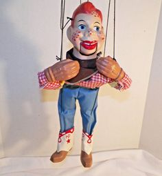 Vintage Howdy Doody Marionette Composition Wood Red Checkered Shirt 16 Inch #Unbranded