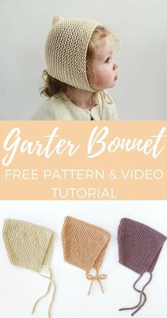 Spring Garter Bonnet – Free Pattern Spring Garter Bonnet - Free Pattern - Knifty Knittings Record of Knitting Yarn spinning, weaving and stitching jobs such. Baby Hats Knitting, Knitting For Kids, Free Knitting, Knitting Projects, Knitted Hats, Knitting Ideas, Newborn Knit Hat, Free Newborn Knitting Patterns, Sewing Projects
