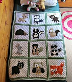 Woodland Blanket (base only) This pattern is for the squares and border used in the Woodlands Blanket. The appliques are available separately. Cool Crochet Blanket, Baby Afghan Crochet, Manta Crochet, Afghan Crochet Patterns, Crochet Blankets, Crochet Home, Crochet Crafts, Manta Animal, Crochet Animals