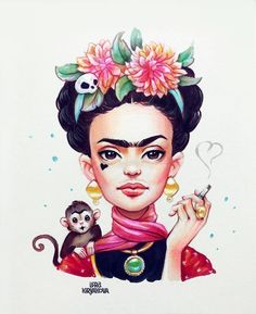 Ideas For Wallpaper Frida Kahlo Pinturas Cartoon Cartoon, Drawing Cartoon Characters, Cartoon Drawings, Art Drawings, Frida Kahlo Cartoon, Kahlo Paintings, Portrait Cartoon, Frida Art, Amazing Drawings