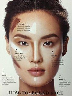 33 ideas for makeup tutorial contouring round face tutorial eyebrow Face Contouring, Contour Makeup, Contouring And Highlighting, Eyebrow Makeup, Skin Makeup, Eyeshadow Makeup, Contour Face, Contour For Round Face, Round Face Makeup