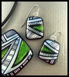 Original dichroic glass pendant and earrings *Hand engraved* SRA By Silvermoonlyn on Artfire