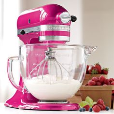 Whip up something sweet. Love this pink kitchen aid mixer !!