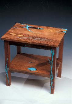 Mesquite end table with turquoise inlay