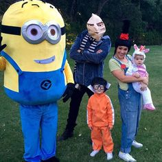 Pin for Later: The Best Celebrity Family Halloween Costumes Alyssa Milano and Her Family as Despicable Me Characters