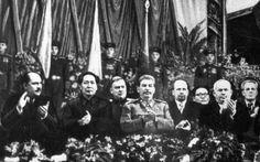 Stalins birthday 1949. Left to right: LM Kaganovich, Chairman Mao, NA Bulganin, Stalin, W Ulbricht, J Cedenbal, Khrushchev and I Kopelnig.