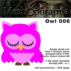 Single mesh decorative owl with 8 texture faces.