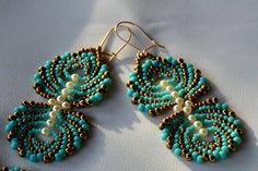 Jewelry. Earrings. Turquoise earrings. Beaded earrings. pearl earrings. Art beadwork. gift for her.valentine's day gift. gift for wife. by IlanitKertisJewelry on Etsy