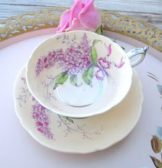 Paragon Fine China Teacup and Saucer Lilac Peach with Pink Lilacs Hand Painted - England By Appointment to HM Queen Mary  by HouseofLucien