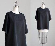90s Vintage Black Silk Short Sleeve Box Blouse / Large by decades, $24.00