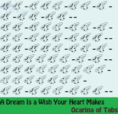 """A Dream is a Wish Your Heart Makes """" Tabbed by: Ocarina of Tabs Listen to it here [x] This song is part of the soundtrack to Disney's Cinderella. """""""