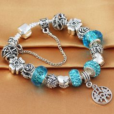 HOMOD 2017 New Style Antique Silver Blue Crystal Life Tree Charm Bracelet fits Brand Bracelet for Women Valentine gift  * Busque la oferta, simplemente haciendo clic en la VISITA botón