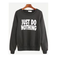 Black Slogan Print Long Sleeve Sweatshirt ($11) ❤ liked on Polyvore featuring tops, hoodies and sweatshirts