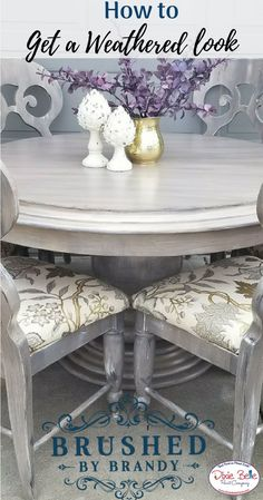 Create a Weathered Look - Brushed by Brandy - Dixie Belle Paint Company - May 11 2019 at Weathered Furniture, Weathered Paint, Painted Bedroom Furniture, Chalk Paint Furniture, Cool Furniture, Chalk Paint Chairs, Furniture Design, Refinished Furniture, Furniture Refinishing