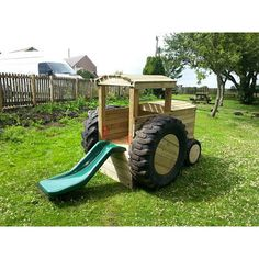 Climbing tractor with rock wall and slide platform height - installed - Tattoo Sleeve - Natural Playground Ideas - DIY Living Room Ideas - Underlights Hair - Art Deco Engagement Ring Outdoor Play Spaces, Kids Outdoor Play, Kids Play Area, Backyard For Kids, Backyard Games, Natural Outdoor Playground, Backyard Ideas, Tire Playground, Toddler Playground