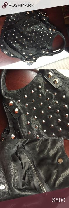 Suede studded BE&D bag As seen on gossip girl. Very high quality suede leather with shine/sparkling texture. Unique bag. Excellent condition. Will consider trades for other high end bags be&D Bags