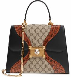 ae278895df2e Main Image - Gucci Iside Leather, Genuine Snakeskin & GG Supreme Satchel