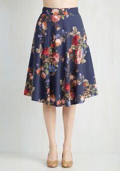 Dedicated to Demure Skirt. Stick to the sophistication you embody so expertly by styling this midnight blue skirt for your day off. #blue #modcloth