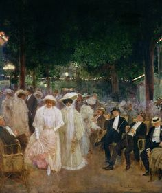 The Gardens of Paris - also known as Beauties of the Night, 1905  by Jean Béraud (French: 1849-1935)