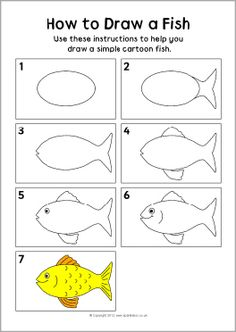 How to draw a fish instruction sheet (SB8283) - SparkleBox