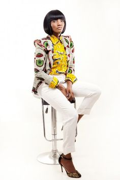 ♥African Fashion • Simi in African Print Jacket ~African fashion, Ankara, kitenge, African women dresses, African prints, African men's fashion, Nigerian style, Ghanaian fashion ~DKK