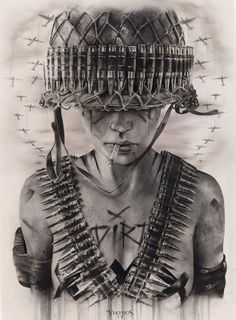 'War Cry' From this years epic UK 'BulletProof' exhibition with Thinkspace Gallery at London's Moniker Art Fair… Tattoo Drawings, Body Art Tattoos, Sleeve Tattoos, Art Drawings, Mago Tattoo, Army Tattoos, Desenho Tattoo, Military Art, Art Fair