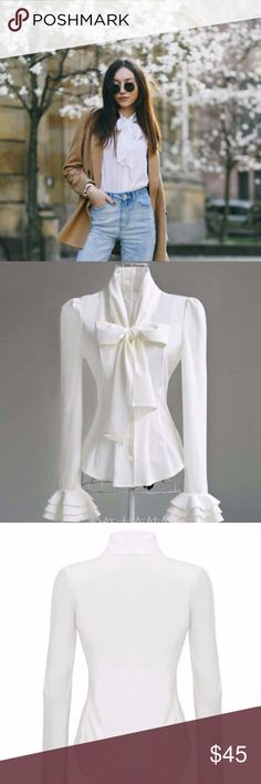 Victorian Bow Tie Blouse in Porcelain White 100% Polyester US standard size TRUE TO SIZE, if you want looser fit size up  Silky, HIGH quality Vintage Victorian style white blouse 3 tier Ruffle Cuffs Long Tie Neck Not Detachable  NWOT Sealed in Packaging direct from makers  tags; vintage. retro. 1950. tie neck. ruffle. victorian. goth. punk. pinup. stepford wives. princess. lady. queen. trendy. Tops Blouses