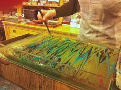 Marbling demonstration at Il Papiro in Florence, Italy.