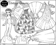 A black paper doll with 1950s vintage ballgowns to color- free to print from…