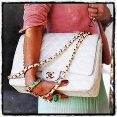 white Chanel purse