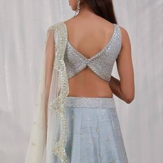 These blouse back design ideas are all you need to add that X factor to your lehenga or saree. saree blouse designs, choli blouse designs at ShaadiWish. Choli Blouse Design, Netted Blouse Designs, Choli Designs, Fancy Blouse Designs, Bridal Blouse Designs, Blouse Neck Designs, One Piece Dress Design, Stylish Blouse Design, Lehenga Designs Latest