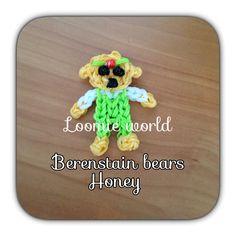 Rainbow Loom Bands Baby Honey : Berenstain Bear Charm Figure tutorial by Loomie World. Rainbow Loom Characters, Rainbow Loom Bands, Rainbow Loom Charms, Rubber Band Crafts, Rainbow Loom Creations, Free Activities For Kids, Berenstain Bears, Action Figures, Honey Bear