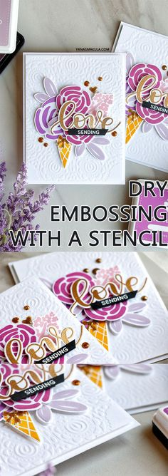 Dry embossing with a stencil. Learn how to use a stencil to create a subtle textured background for a card with the help of dry embossing! Simon Says Stamp Circular Lace stencil, Blooming Day stamp set, Cone Building Stamp set. Project by Yana Smakula