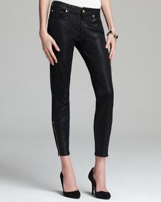 674a4364ccd1 7 For All Mankind Jeans - The Cropped Skinny Ankle Zip in High Gloss Black  EDITORIAL - Women s New Arrivals - Clothing - Bloomingdale s