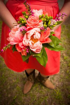@Blythewood Florist @Corey Potter photography Cowboy country chic wedding bouquet peonies