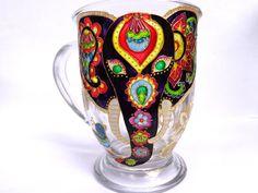 Bohemian style Elephant Glass Mug. Hand painted glass.