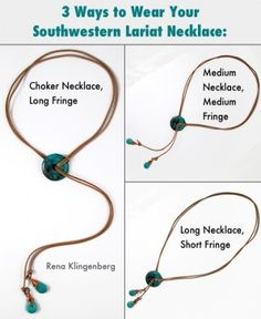 3 Ways to Wear Your Southwestern Lariat Necklace - tutorial by Rena Klingenberg