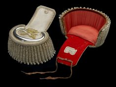 Civil court dress: 1837.  Pair of epaulettes, part of the court dress worn by arctic explorer Sir John Franklin (1786–1847) as Lieutenant-Governor of Van Diemen's Land (Tasmania). The epaulettes are of silver lace, edged with a twist of silver purl, alternately dull and bright. The crescent is of very rigid silver with silver wire edging, and, inside, a crown above a sword and baton both in silver and gold purl. Twenty-eight bright silver bullions are fixed over a rigid bonnet.