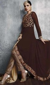 Brown Color Embroidered Georgette Anarkali Pant Style Suit