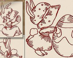 Redwork Egg Hunting Sunbonnets Machine Embroidery Patterns / Designs 4x4 and 5x7 Hoop INSTANT DOWNLOAD Easter Spring Outline Quilting