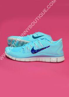 38cdb7bbceea Custom Tiffany Blue Nike Free Run 0.5 With Glitter Tick