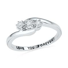 "Promise ring Diamond Accent Three Stone Slant Promise Ring in Sterling Silver (1 Line) ""with all my love"""