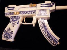 painted machine gun