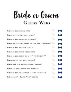 Bachelorette Games Bridal Shower Know the Bride Bride and Groom Wedding Games What did he say Wedding Shower Engagement Party Games, Wedding Party Games, Hen Party Games, Bridal Games, Best Bridal Shower Games, Bride Shower Games, Wedding List, Wedding Songs, Bridal Shower Games Questions