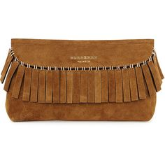 Burberry Prorsum Suede Ring Fringe Clutch Bag ($1,980) ❤ liked on Polyvore featuring bags, handbags, clutches, dark sand, suede handbags, suede fringe purse, purse, burberry handbags and fringe purse
