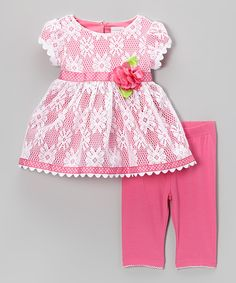Another great find on #zulily! Sweet Heart Rose Pink Lace Cap-Sleeve Dress & Leggings - Toddler & Girls by Sweet Heart Rose #zulilyfinds. $23.99, 2-6x