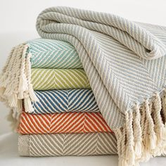 Brahms Mount Herringbone Throw for added texture and warmth in Living Room. Textiles, Cotton Throws, Home Accents, My Dream Home, Dream Homes, Home Accessories, Home Goods, Sweet Home, New Homes