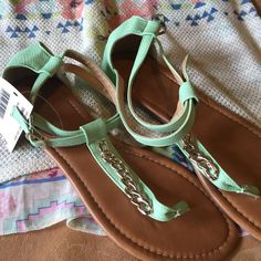 Nwt Mint Sandals With Gold Detail